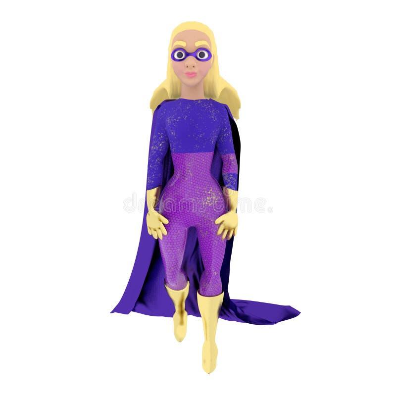 Super héros de femme d'isolement sur le fond blanc rendu 3d illustration libre de droits