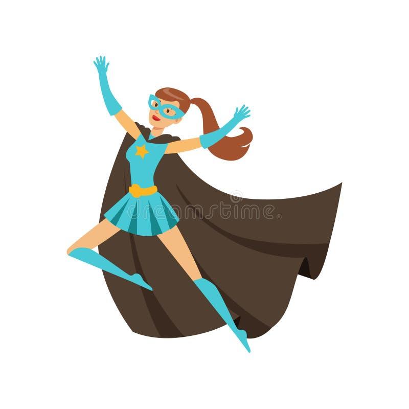 Super héros de fille dans le costume classique de bandes dessinées avec le cap illustration de vecteur