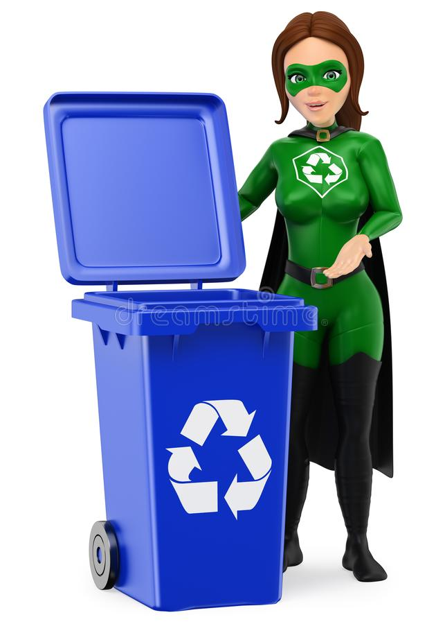 super héros de la femme 3D de la réutilisation se tenant avec une poubelle bleue pour le REC illustration libre de droits
