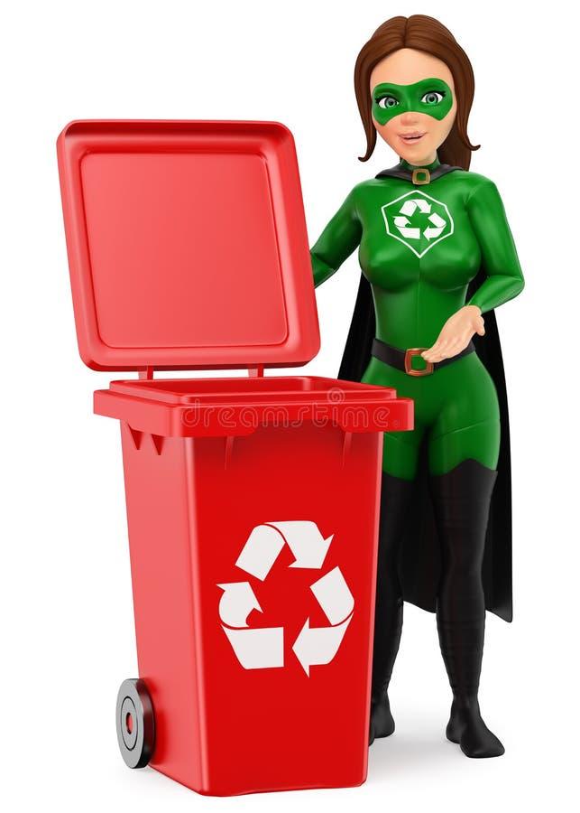 super héros de la femme 3D de la réutilisation se tenant avec une poubelle rouge pour le recy illustration de vecteur