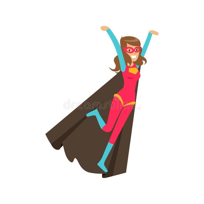 Super héros de vol de fille dans le costume classique de bandes dessinées avec le cap illustration de vecteur