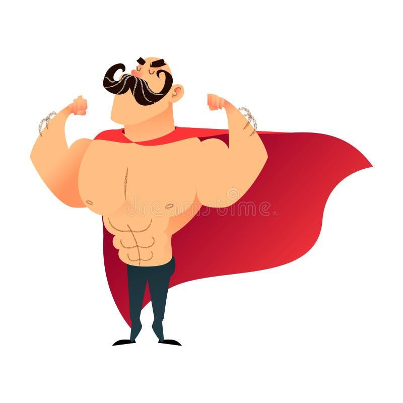 Super héros drôle de bande dessinée forte Homme de superhéros de puissance avec le cap Caractère plat d'athlète de vecteur Sporti illustration de vecteur