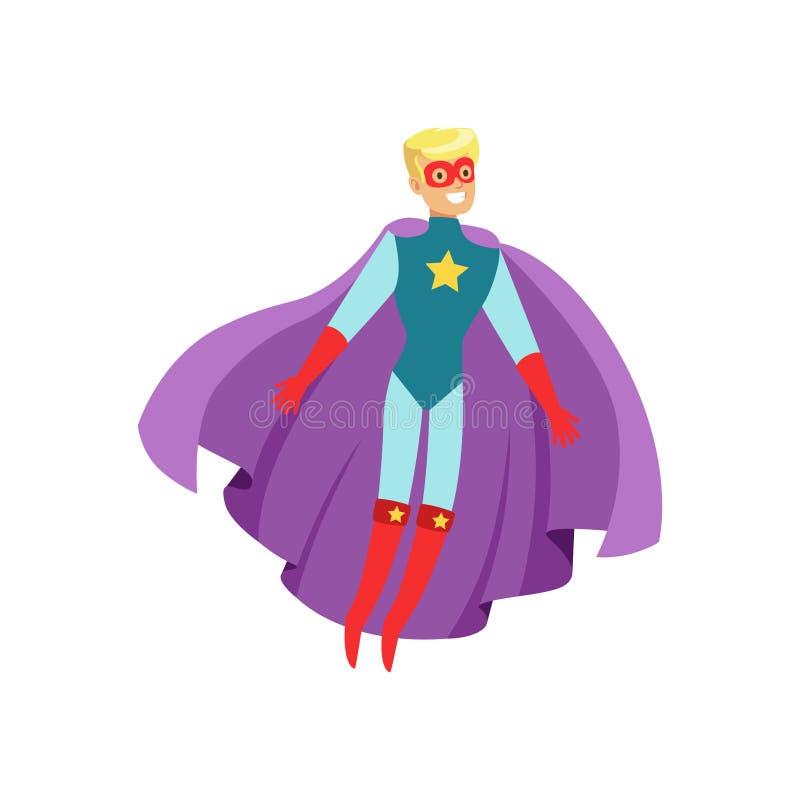 Super héros masculin dans le costume classique de bandes dessinées avec le cap illustration stock