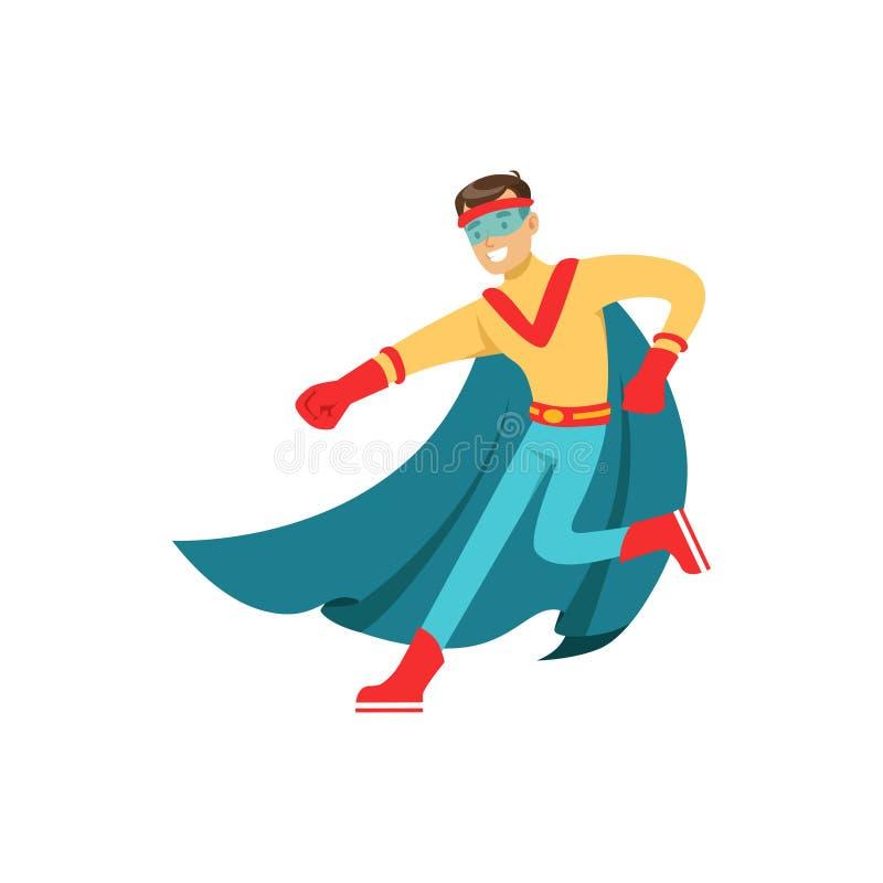 Super héros masculin dans le costume classique de bandes dessinées avec le cap illustration de vecteur