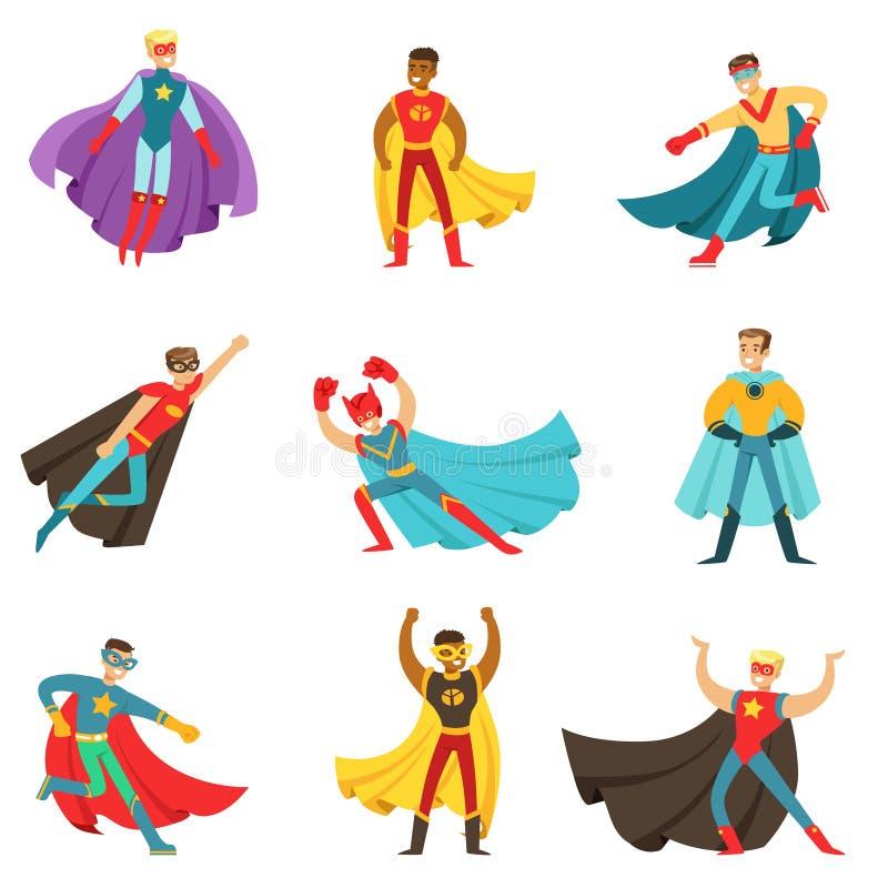 Super héros masculins dans des costumes classiques de bandes dessinées avec des caps réglés des personnages de dessin animé plats illustration libre de droits