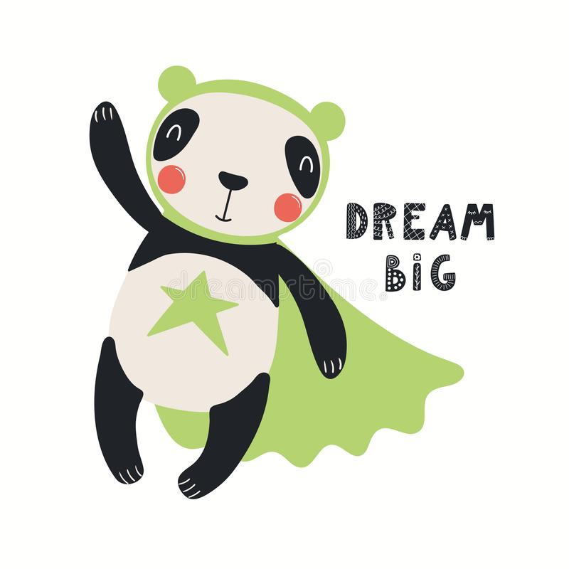 Super héros mignon de panda illustration stock