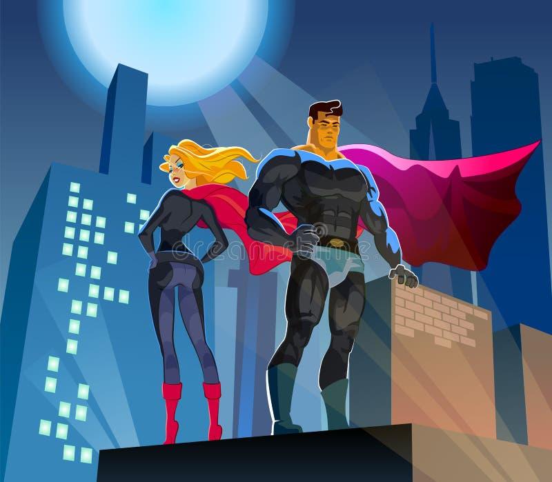 Super héros sur un toit de gratte-ciel illustration de vecteur