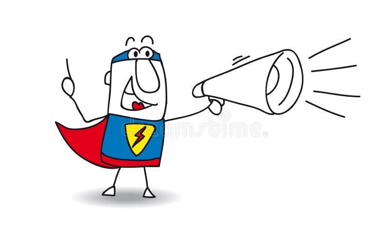 Super Held met megafoon royalty-vrije illustratie