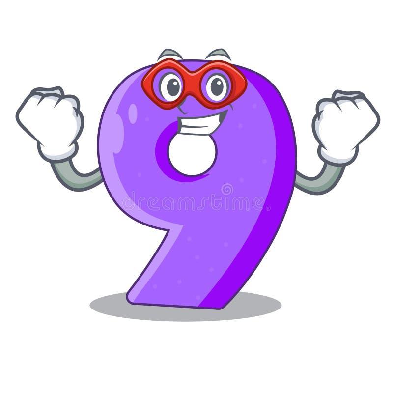 Super held nummer negen atletiek het gestalte gegeven karakter vector illustratie