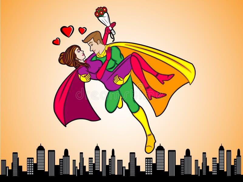 Super Helden in Liefde royalty-vrije illustratie