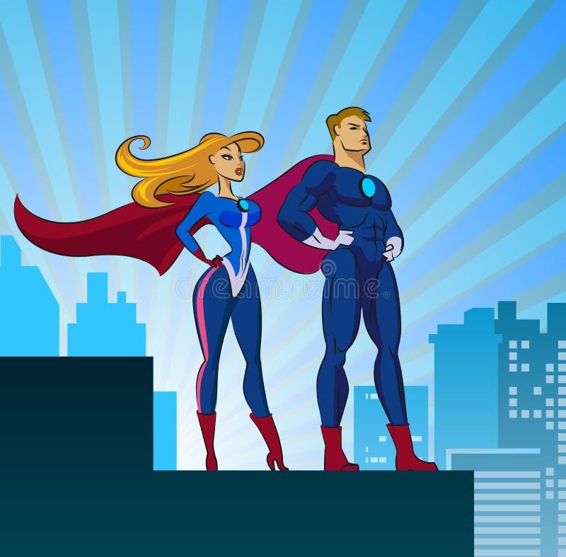 Super Helden - Mannetje en Wijfje royalty-vrije illustratie