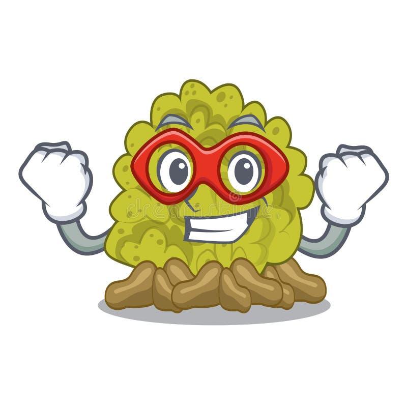Super helden miniatuur groen koraalrif met mascotte vector illustratie