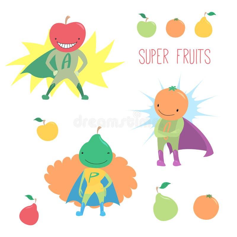 Super heldenvruchten stock illustratie