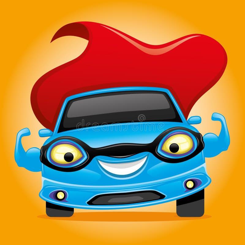Super-herói azul do carro ilustração royalty free