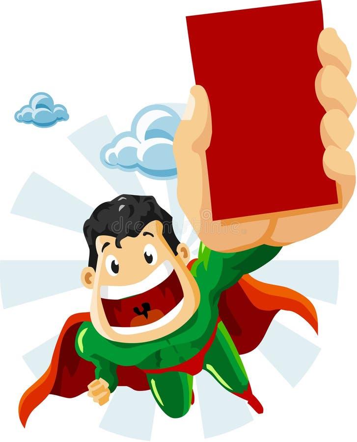 Super-herói com anúncios ilustração royalty free