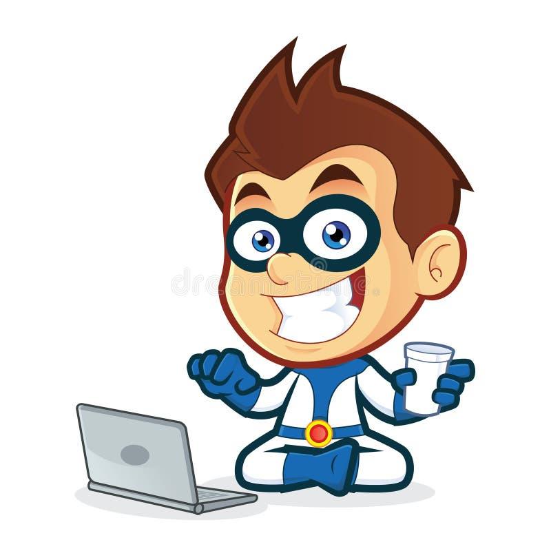 Super-herói com portátil ilustração do vetor