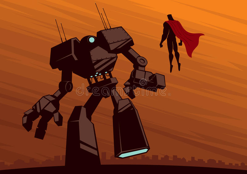 Super-herói contra o robô 2 ilustração stock