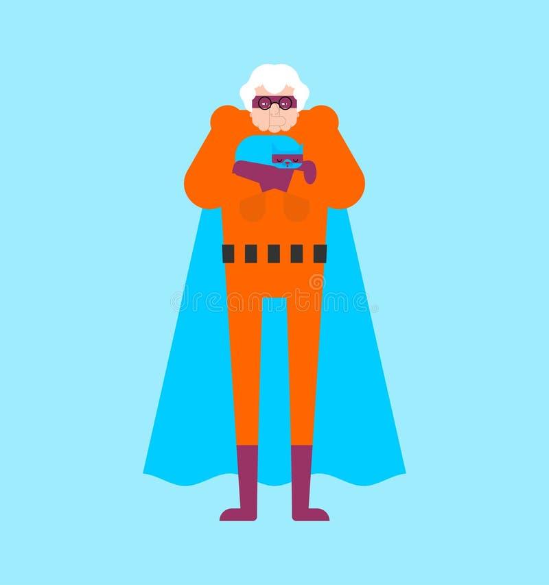 Super-her?i da av? isolado Av? super Mulher adulta das superpot?ncias Vetor do estilo dos desenhos animados ilustração stock