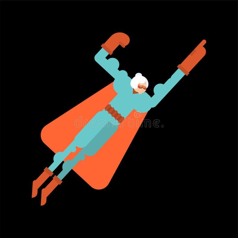 Super-herói da avó Avó super na máscara e na capa de chuva Senhora idosa forte ilustração do vetor