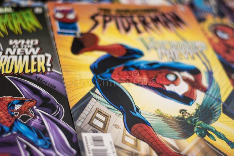 Super-herói da banda desenhada da maravilha de Spider-Man imagem de stock