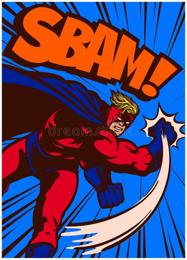 Super-herói da banda desenhada do pop art na ilustração de perfuração e de combate da ação do vetor ilustração royalty free