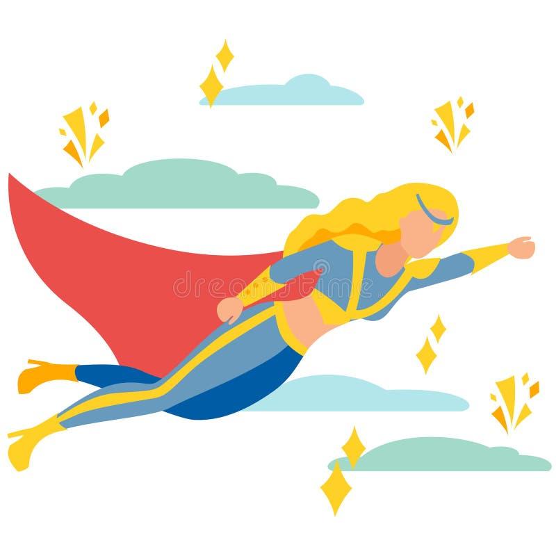 Super-herói da mulher ao salvamento No vetor liso dos desenhos animados minimalistas do estilo ilustração do vetor
