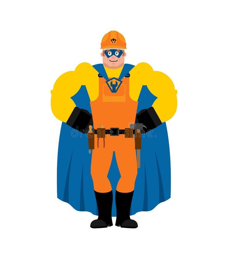 Super-herói do construtor Trabalhador super na máscara e na capa de chuva Recruta forte do trabalhador do serviço ilustração stock