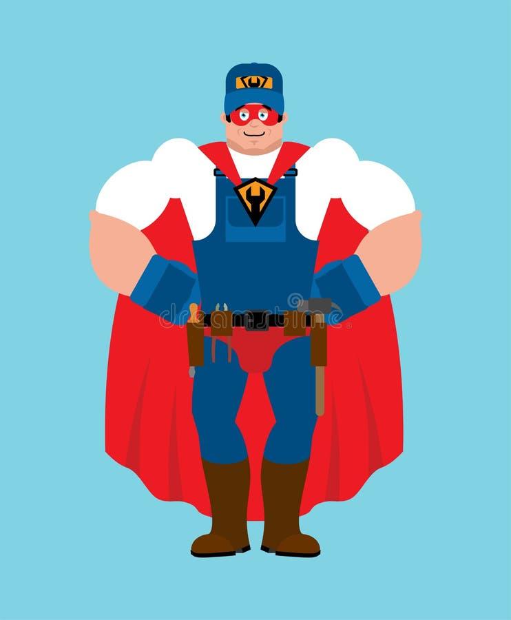 Super-herói do encanador Ajustador super na máscara e na capa de chuva Recruta forte do trabalhador do servi?o ilustração royalty free