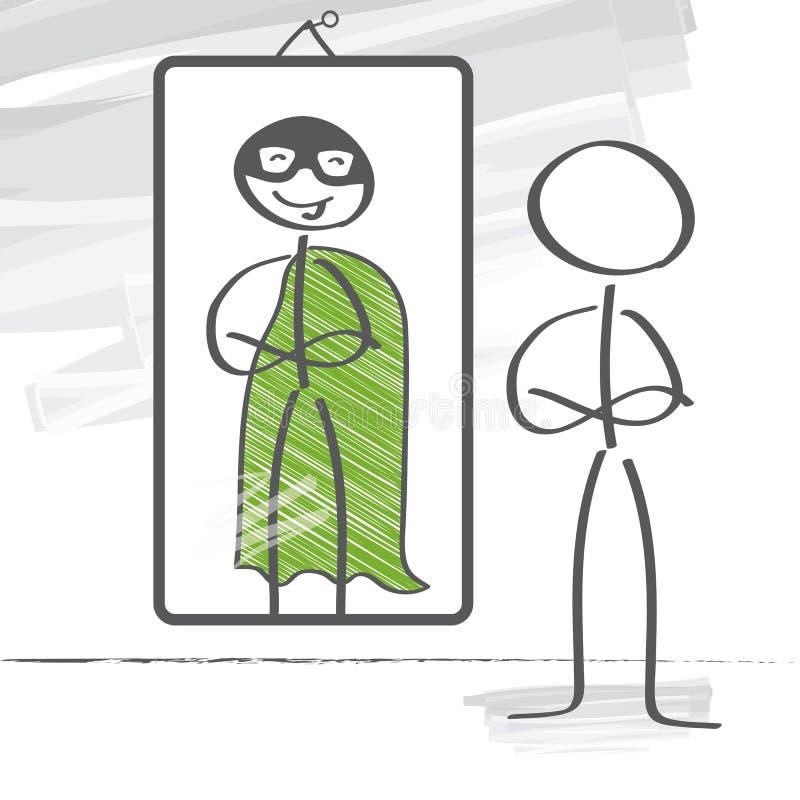 Super-herói e o espelho ilustração stock