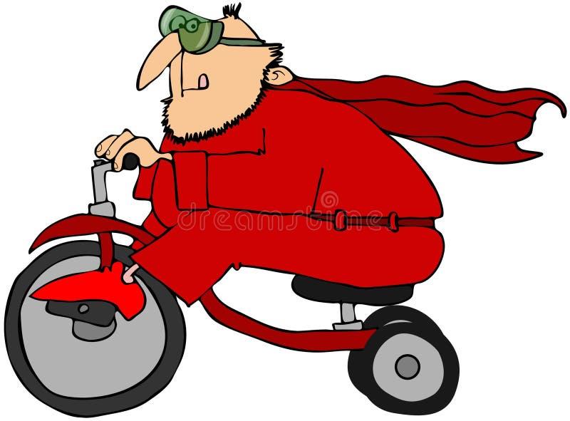 Super-herói em um triciclo ilustração stock
