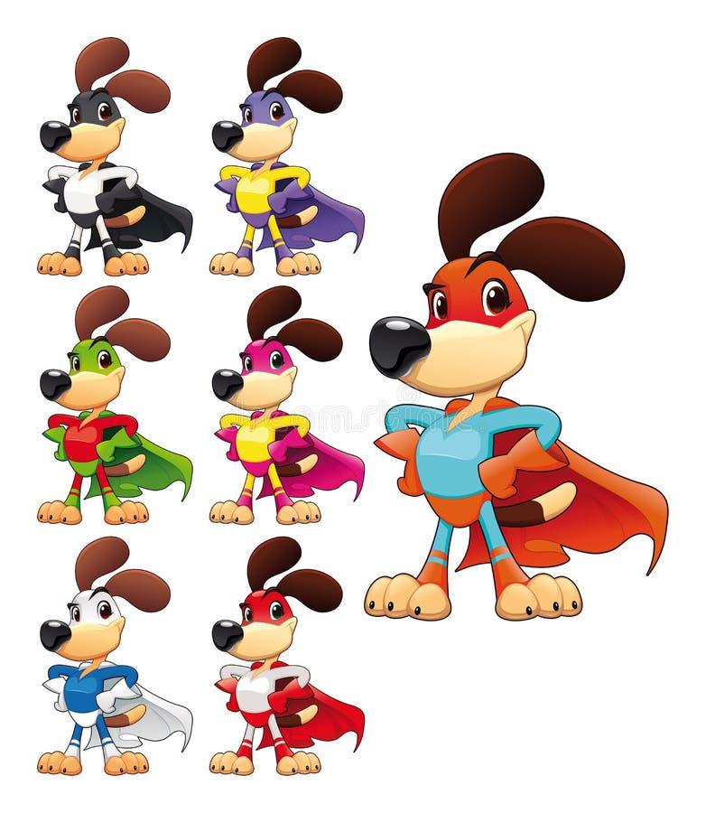 Super-herói engraçado do cão. ilustração royalty free