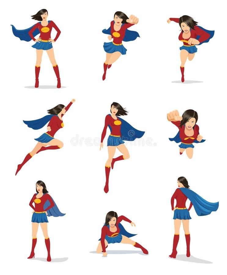 Super-herói fêmea com cabo vermelho ilustração royalty free