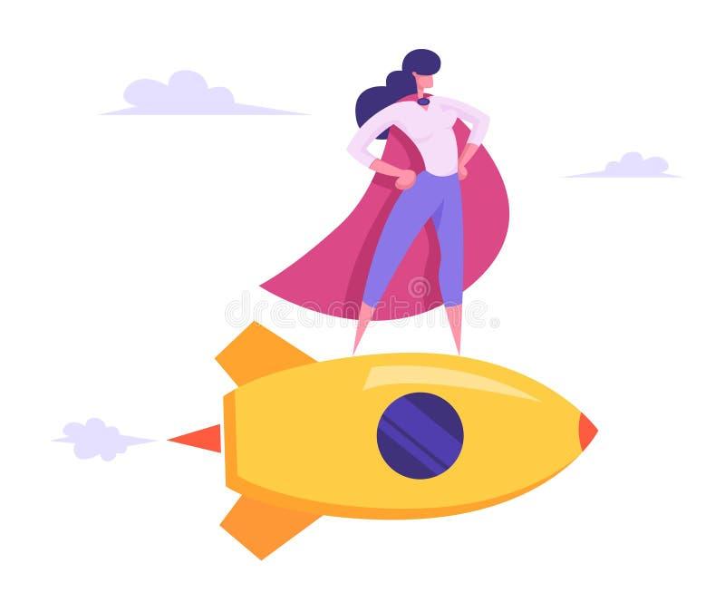 Super-herói fêmea no casaco vermelho, menina super do empregado com voo Akimbo dos braços em Rocket dourado entre nuvens no céu ilustração royalty free