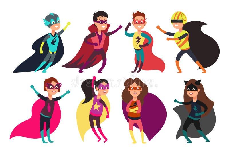 Super-herói felizes das crianças que vestem trajes coloridos dos superheros Caráteres das crianças dos desenhos animados ilustração stock