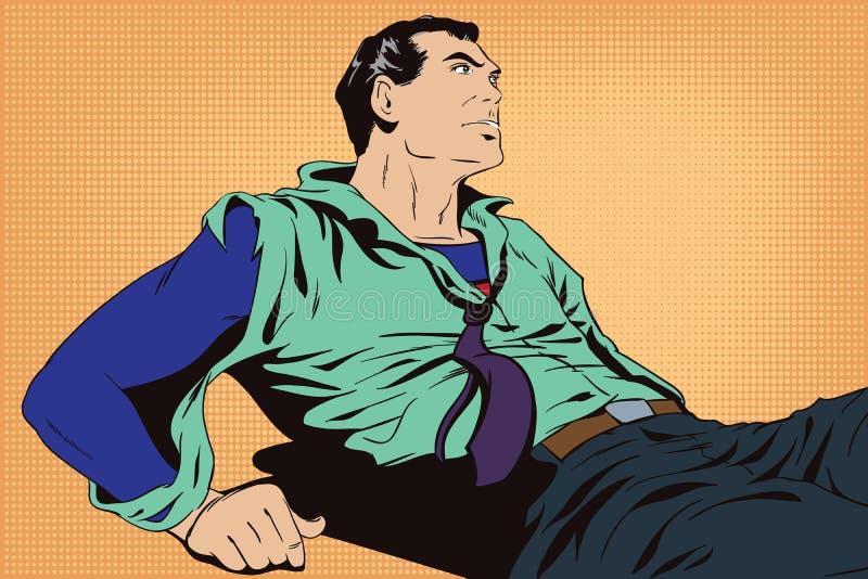 Super-herói ferido ilustração do vetor