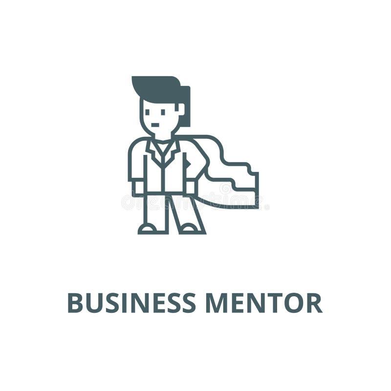 Super-herói, homem de negócios, linha ícone do vetor do mentor de negócio, conceito linear, sinal do esboço, símbolo ilustração stock