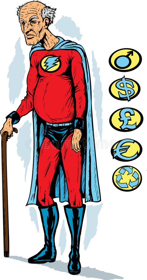 Super-herói Idoso Fotos de Stock Royalty Free