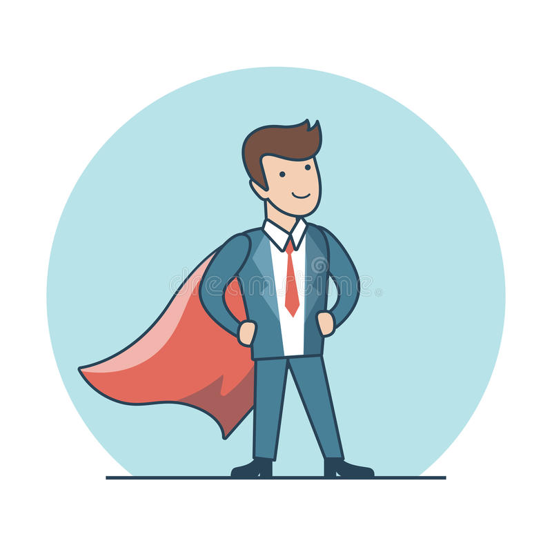 Super-herói liso linear que levanta o vetor vermelho do cabo do terno ilustração royalty free