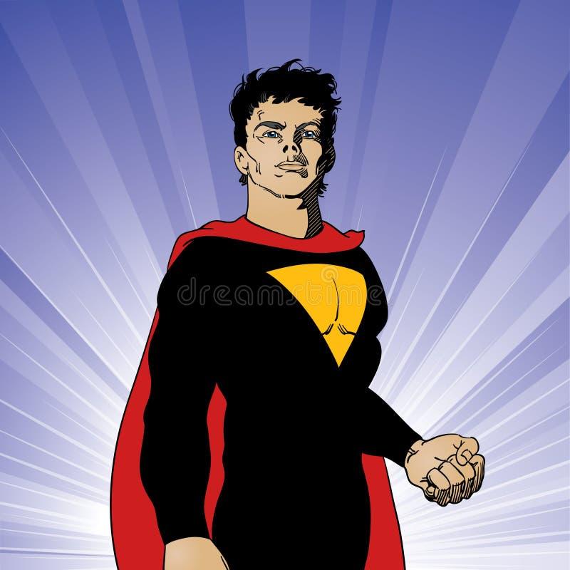 Super-herói no pose heróico ilustração stock