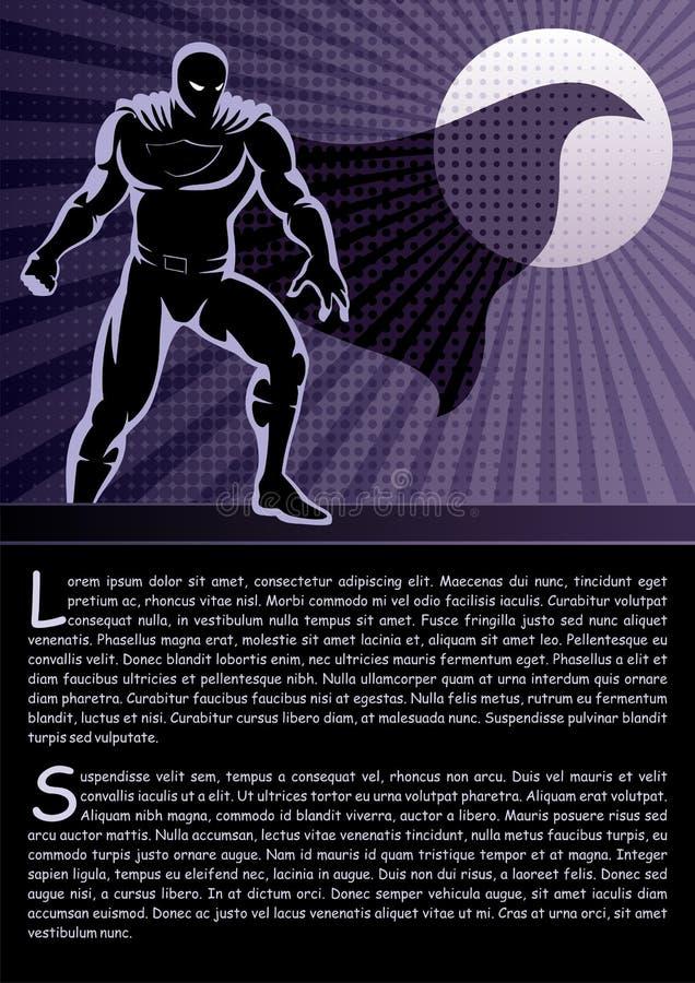 Super-herói no telhado ilustração do vetor