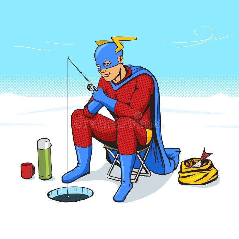 Super-herói no vetor da banda desenhada da pesca do gelo ilustração royalty free
