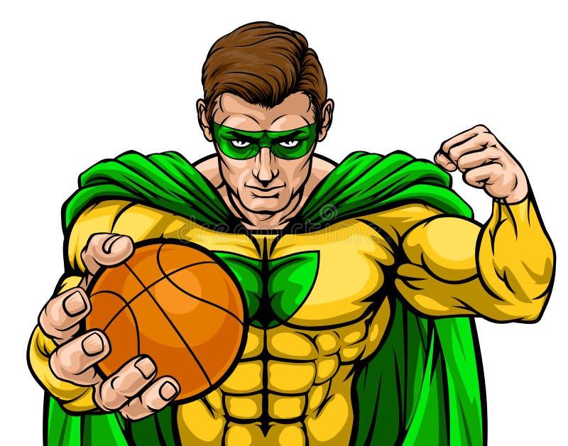 Super-herói que guarda a mascote dos esportes da bola do basquetebol ilustração royalty free