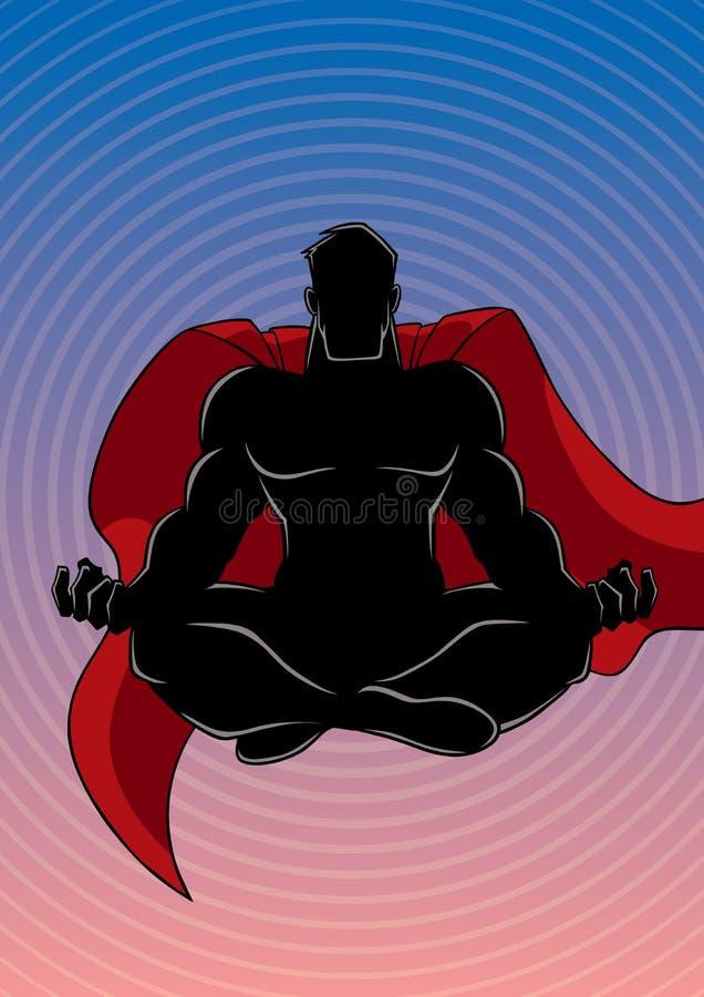 Super-herói que medita a silhueta do fundo ilustração royalty free
