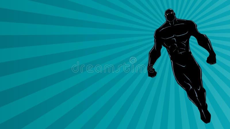 Super-herói que voa Ray Light Background Silhouette ilustração stock