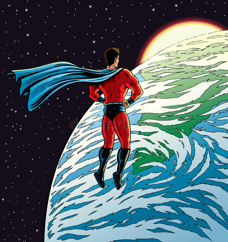 Super-herói sobre a terra ilustração stock