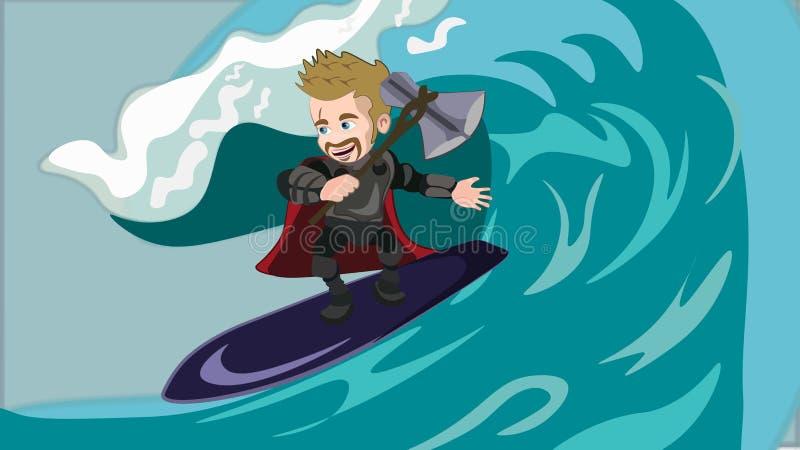 Super-herói viquingue com o machado mágico que desliza na onda do mar ilustração royalty free