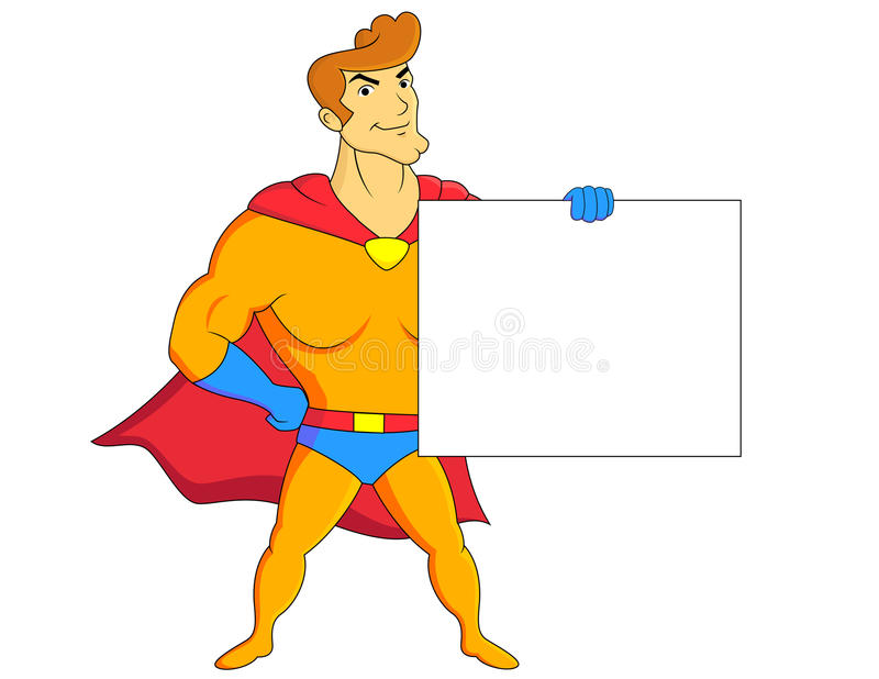 Super Hero With Blank Sign Royalty Free Stock Photo