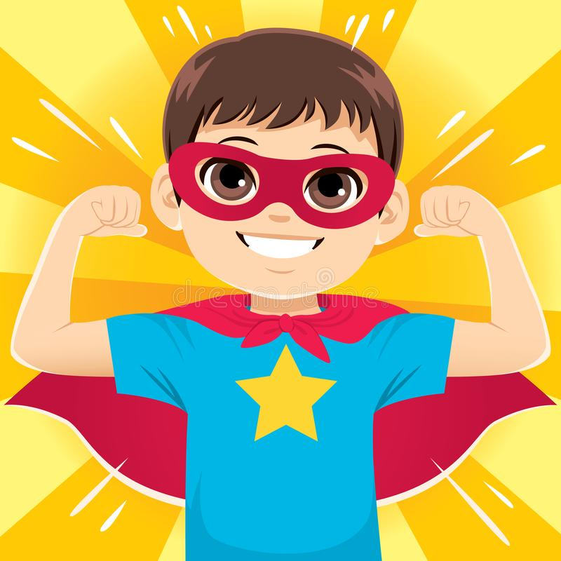 Super Hero Boy. Super happy funny and cute little hero boy flexing arms showing strength royalty free illustration