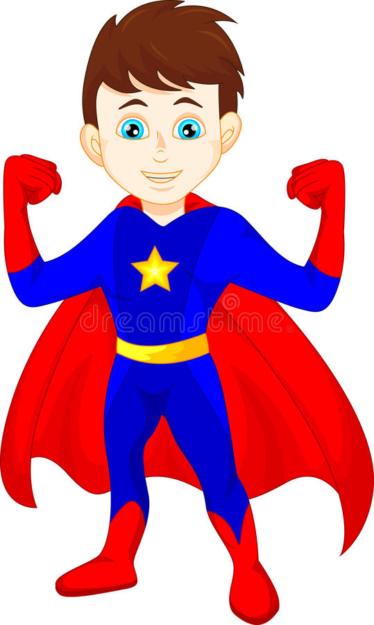 Super hero boy posing stock illustration