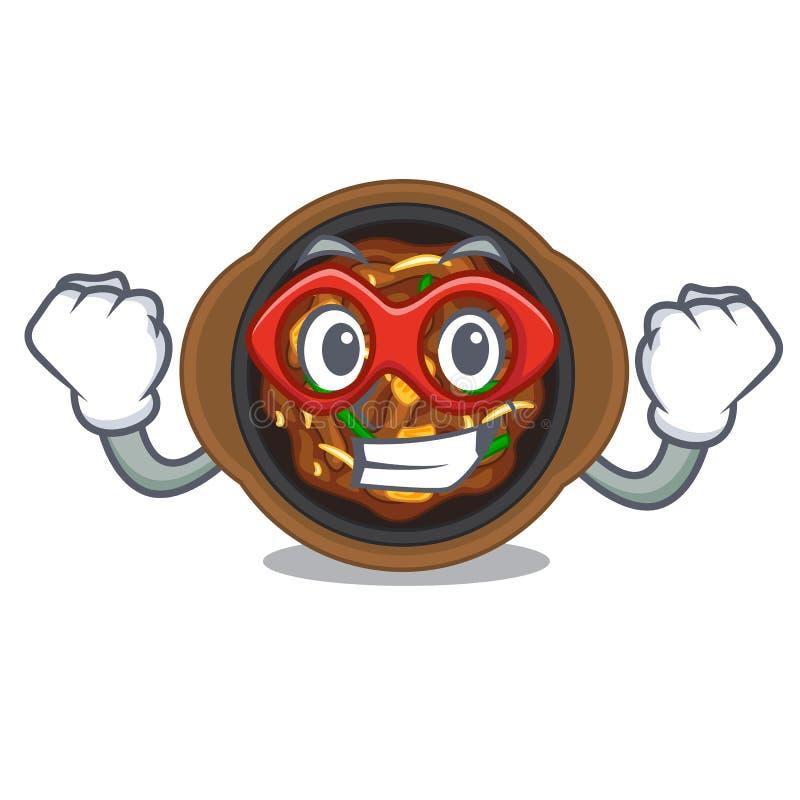 Super hero bulgogi in a the bowl cartoon. Vector illustration royalty free illustration